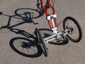 vue d'ensemble du sytème Addbike installé sur une fourche
