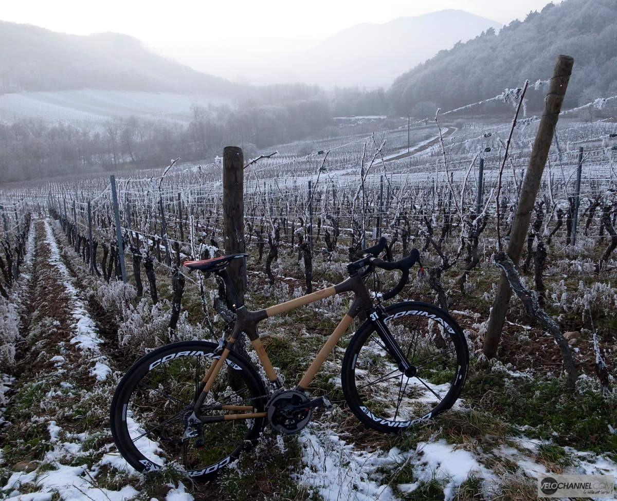 vélo en bambou dans les vignes enneigées