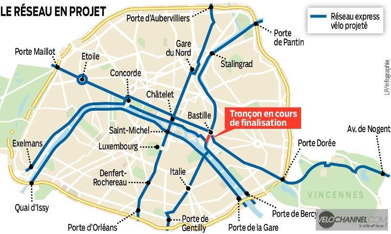 projet réseau express vélo, infographie Le Parisien