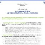 déclaration des territoires cyclables 2016