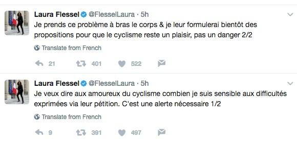 Tweet de Laura Flessel sur la sécurité des cyclistes