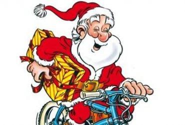 dessin du Père Noël à vélo